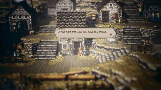 Always mildly amusing to challenge an old person to a fight with Olberic.