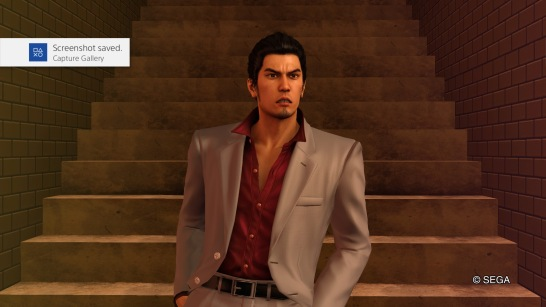 Kiryu mimicking my surprise during some parts of the game.