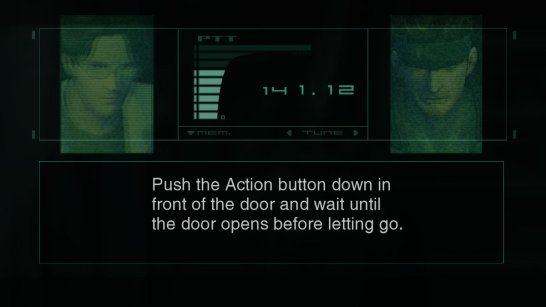 Metal Gear Solid breaks the fourth wall to explain its controls.