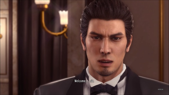 Even as a Cabaret Host, Kiryu can't help looking sad.
