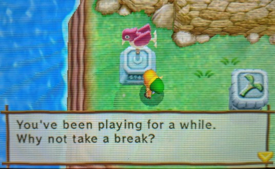 A Link Between Worlds constantly tells you to take breaks as if your life depended on it.